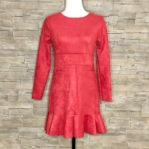 Wine-red faux-suede dress